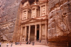 ASIA MIDDLE EAST JORDAN PETRA. The Al Khazneh Treasury in the Temple city of Petra in Jordan in the middle east Royalty Free Stock Images