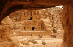 ASIA MIDDLE EAST JORDAN PETRA. The Bab as Siq street with the Obelisk Tomb and the Bab as Siq Triclinium in the Temple city of Petra in Jordan in the middle east Stock Images
