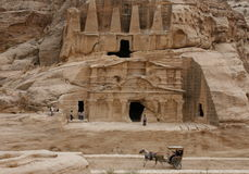ASIA MIDDLE EAST JORDAN PETRA. The Bab as Siq street with the Obelisk Tomb and the Bab as Siq Triclinium in the Temple city of Petra in Jordan in the middle east Stock Image