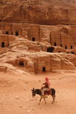 ASIA MIDDLE EAST JORDAN PETRA. The street of Facades or Necropolis in the Temple city of Petra in Jordan in the middle east Stock Photos