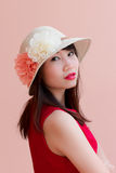 Asia modle red mouth stock image