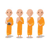 Asia Monk Character Isolate Set Vector Stock Image