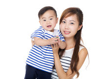 Asia mother and son portrait Stock Photos