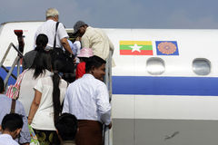 ASIA MYANMAR AIRPLANE MYANMA AIRWAYS Stock Images