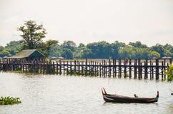 Asia, Myanmar Birmania: Puente de U Bein de Mandalay foto de archivo libre de regalías