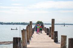 Asia, Myanmar Burma: U Bein Bridge of Mandalay Stock Images