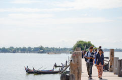 Asia, Myanmar Burma: U Bein Bridge of Mandalay Royalty Free Stock Image