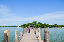Asia, Myanmar Burma: U Bein Bridge of Mandalay Royalty Free Stock Photo