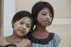 ASIA MYANMAR MANDALAY AMARAPURA THANAKA Royalty Free Stock Photos