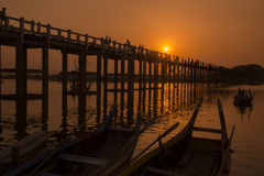 ASIA MYANMAR MANDALAY AMARAPURA U BEIN BRIDGE Stock Photography