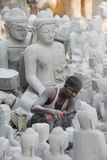 ASIA MYANMAR MANDALAY MARBLE BUDDHA FACTORY Royalty Free Stock Photography