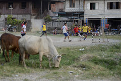ASIA MYANMAR NYAUNGSHWE SOCCER FOOTBALL Stock Image