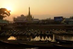 ASIA MYANMAR NYAUNGSHWE WEAVING FACTORY Stock Photography