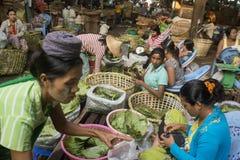 ASIA MYANMAR YANGON MARKET BETEL LEAFES Stock Image