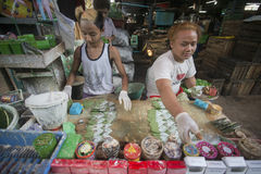 ASIA MYANMAR YANGON MARKET BETEL LEAFES Royalty Free Stock Photo