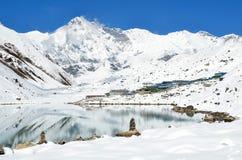 Asia, Nepal, the Himalayas, the view of the peak Cho Oyu, 8210 meters above sea level. Gokio lake ahd villlage Gokio Royalty Free Stock Photos