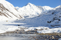 Asia, Nepal, the Himalayas, the view of the peak Cho Oyu, 8210 meters above sea level. Gokio lake ahd villlage Gokio Stock Photo