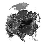Asia at night  as engraving vector Stock Photos