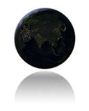 Asia at night. Globe with Asia at night isolated on white background. 3D illustration with detailed planet surface, isolated on white background. Elements of Royalty Free Stock Photo