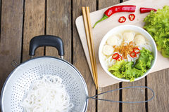Asia noodles on wooden background.Noodle. Of vietnam and raw material from nature Royalty Free Stock Images