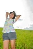 asia obszaru trawiasty kobieta Obraz Royalty Free