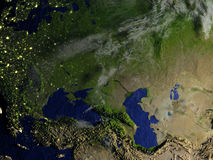 Asia occidental en el modelo realista de la tierra ilustración del vector