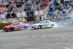 Asia Pacific D1  Primring Grand Prix 2015 Russian Drift Series. ARTEM RUSSIAN - SEPTEMBER 20 :  car battles in Asia Pacific D1  Primring Grand Prix 2015 Russian Royalty Free Stock Image