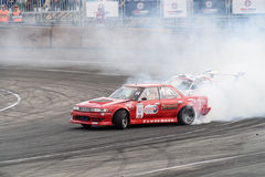 Asia Pacific D1  Primring Grand Prix 2015 Russian Drift Series. ARTEM RUSSIAN - SEPTEMBER 20 :  car battles in Asia Pacific D1  Primring Grand Prix 2015 Russian Royalty Free Stock Photography