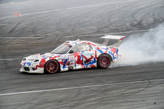 Asia Pacific D1  Primring Grand Prix 2015 Russian Drift Series. ARTEM RUSSIAN - SEPTEMBER 20 :  car battles in Asia Pacific D1  Primring Grand Prix 2015 Russian Royalty Free Stock Images