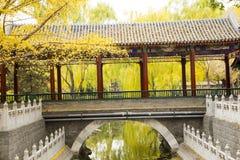 Asia parque de China, Pekín, Zhongshan, edificio antiguo, 'promenade', puente Fotos de archivo