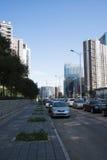 In Asia, Pechino, Wangjing, Cina, costruzioni moderne, paesaggio della via Fotografia Stock