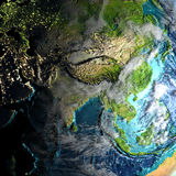 Asia on physical map in the morning. Asia on realistic physical map during twilight. 3D illustration with detailed planet surface. Elements of this image Stock Photography