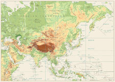 Asia Physical Map Retro White Royalty Free Stock Photography