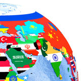 Asia on political globe with flags. Asia on political globe with national flags embedded in map. 3D illustration Royalty Free Stock Photo