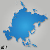 Asia political map card paper Royalty Free Stock Photo