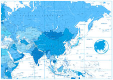 Asia political map in colors of blue Stock Images