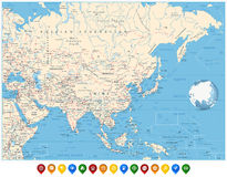 Asia political map and and location pin icons Royalty Free Stock Photos