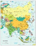 Asia region political divisions map. Area geographical location map on the globe Stock Photo