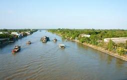 Asia river traffic, Mekong Delta, transport cargo Stock Photo
