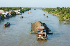 Asia river traffic, Mekong Delta, transport cargo Stock Image