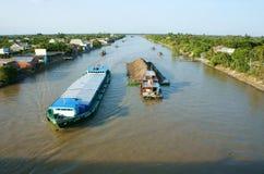 Asia river traffic, Mekong Delta, transport cargo Stock Images