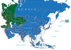 Asia road map Royalty Free Stock Photo