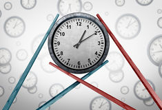 Asia Schedule Management. And Asian time zone coordination as two sets of chopsticks holding a clock together as a global business meeting concept as a 3D Royalty Free Stock Images