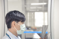 Asia scientist work in white Royalty Free Stock Photo