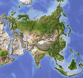 Asia, shaded relief map stock illustration