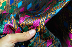 Asia silk fabric pattern background. Tradition asia silk fabric pattern background Royalty Free Stock Photography