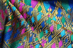Asia silk fabric pattern background. Tradition asia silk fabric pattern background Stock Photography