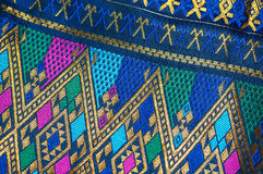 Asia silk fabric pattern background. Tradition asia silk fabric pattern background Royalty Free Stock Photo