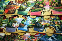 ASIA SINGAPORE CHINA TOWN HAND FAN Stock Photos