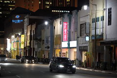 ASIA SINGAPORE CHINA TOWN NIGHT. A road by night in china town in the city of Singapore in Southeastasia stock photography